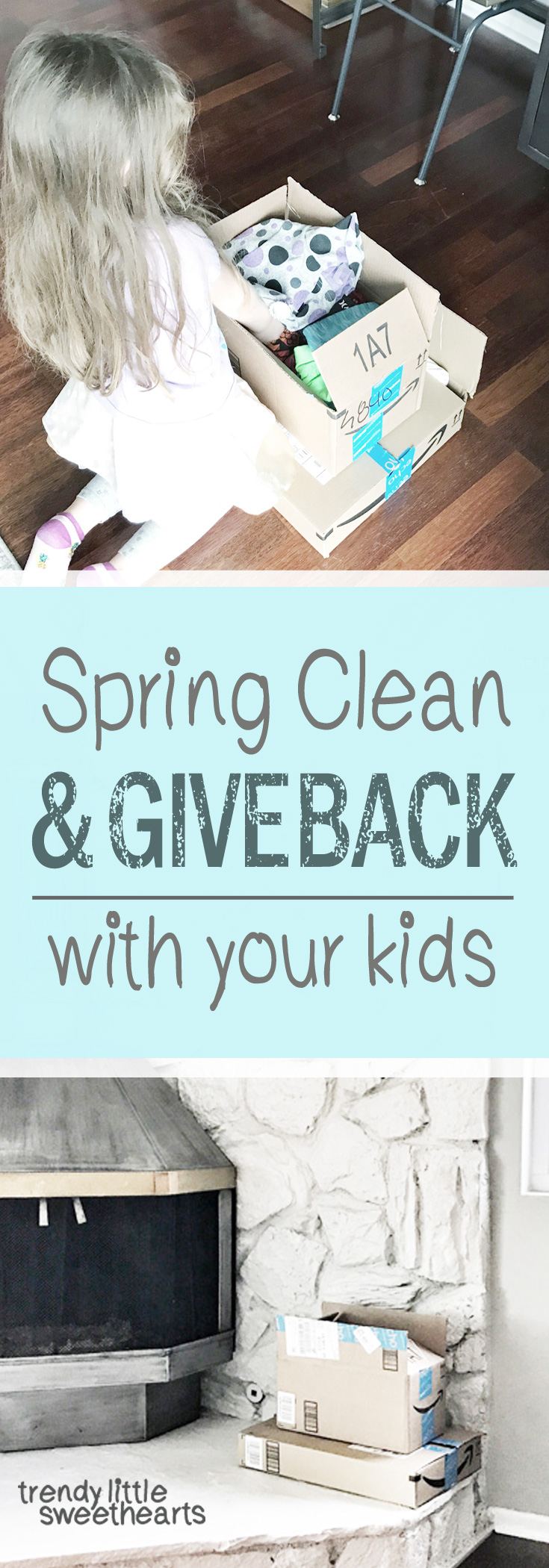 Ideas to spring clean by quickly sorting through closets and donating clothing with your kids. | Trendy Little Sweethearts