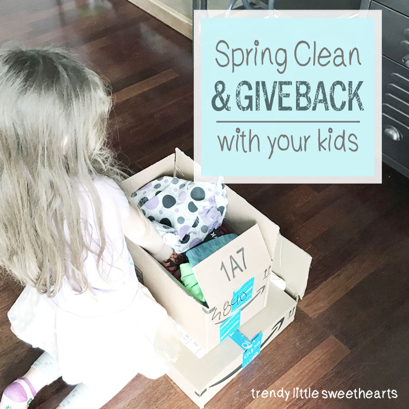 Ideas to spring clean by quickly sorting through closets and donating clothing with your kids | Trendy Little Sweethearts