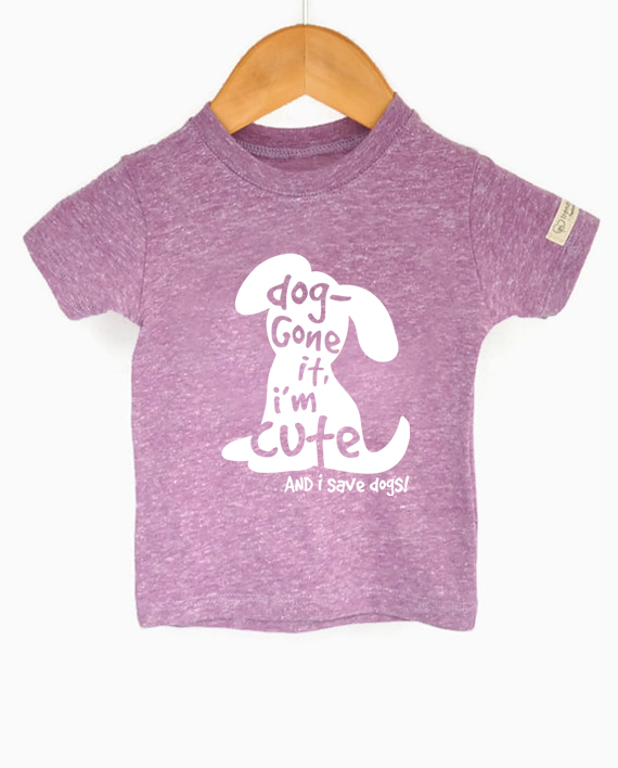 Cute eco-friendly dog tee for kids, made from recycled bottles and organic cotton. Includes a donation to save dogs! at Trendy Little Sweethearts