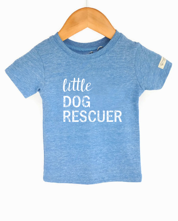 Ecofriendly animal rescue tshirt, made from recycled bottles and organic cotton. Includes donation to save dogs! at Trendy Little Sweethearts