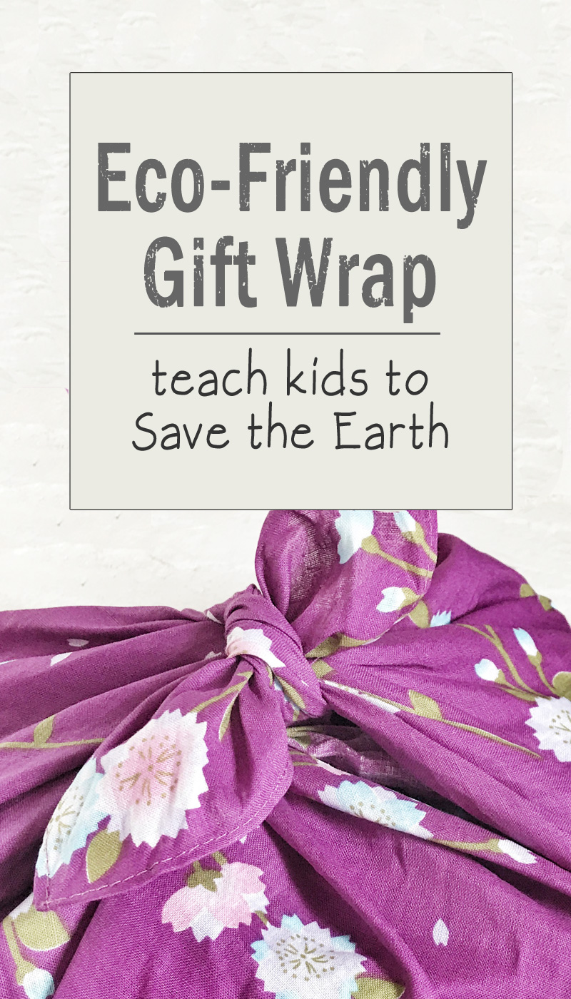 Simple way to teach kids to Save the Earth by wrapping birthday party gifts in reusable furoshiki fabric | Trendy Little Sweethearts
