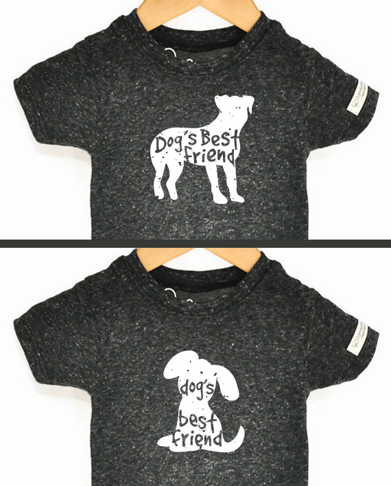Adult and child design for Dog's Best Friend Silhouette set next to each other