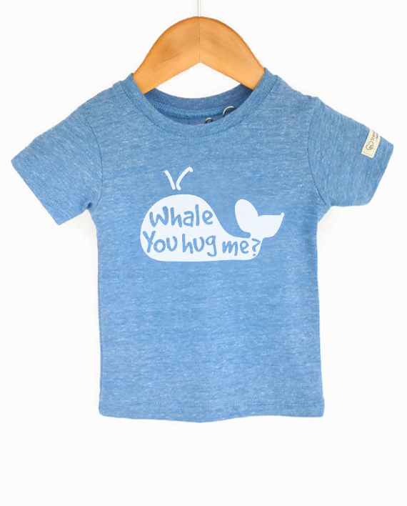 Cute Save the Whales tshirt for adults, made from recycled bottles and organic cotton | Trendy Little Sweethearts
