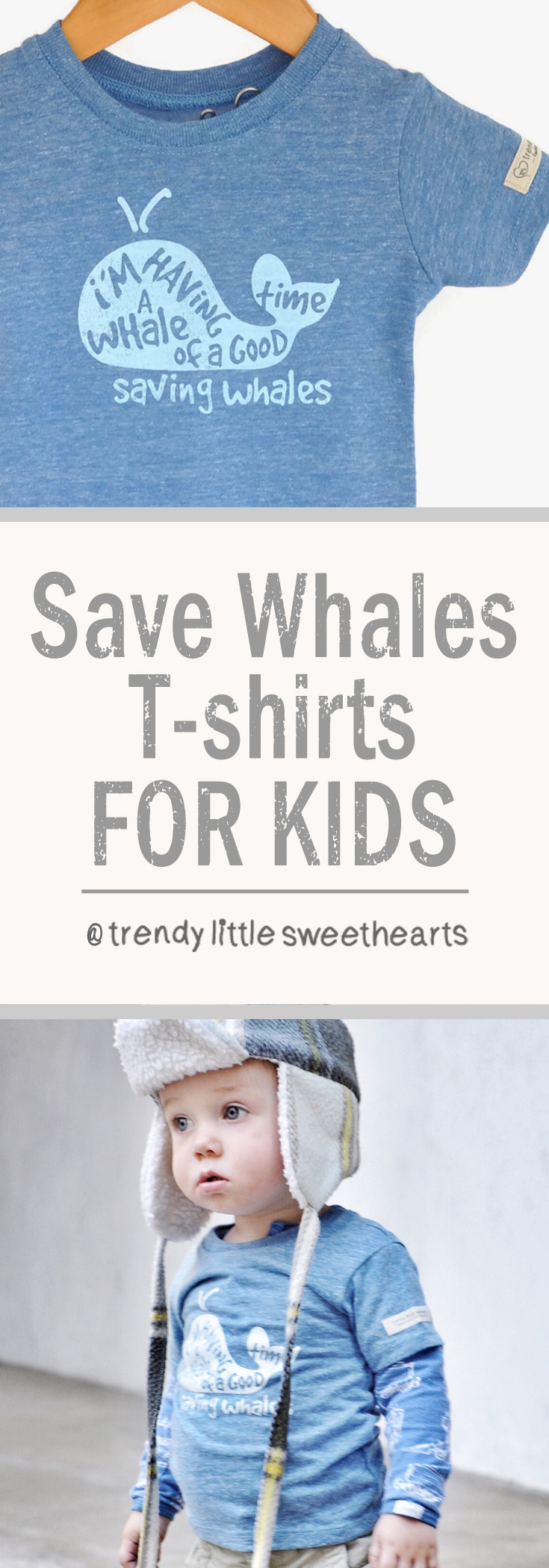 A fun way to teach kids about Saving Whales! Eco-friendly tshirts with whales on the front that donate to help whale conservation groups | Trendy Little Sweethearts