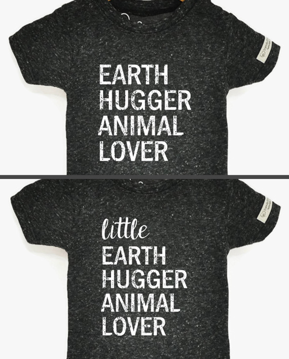 Adult and child design for Earth Hugger Animal Lover set next to each other