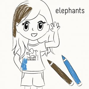 Coloring Book to Learn about Elephants