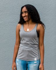 Eco conscious bamboo and organic cotton raw edge tank top with tiny animal print – Trendy Little Sweethearts