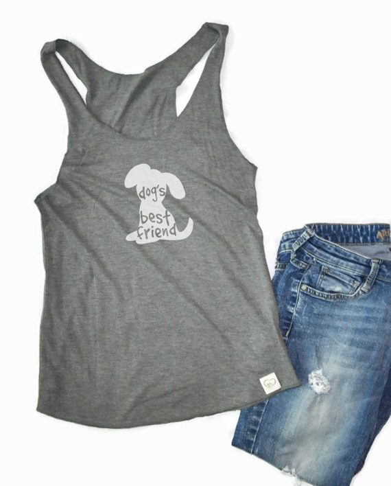 Eco conscious bamboo and organic cotton raw edge tank top to help dogs | Trendy Little Sweethearts