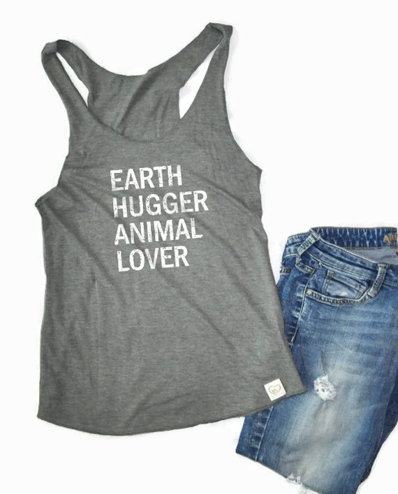 Eco conscious bamboo and organic cotton raw edge tank top to help animals | Trendy Little Sweethearts
