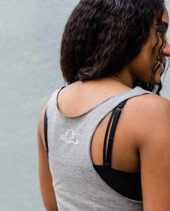 Eco conscious bamboo and organic cotton raw edge tank top to help elephants | Trendy Little Sweethearts