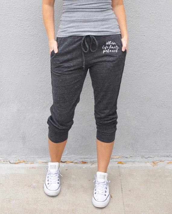 Eco-friendly Cropped Sweatpants | Cat Rescue | Trendy Little Sweethearts