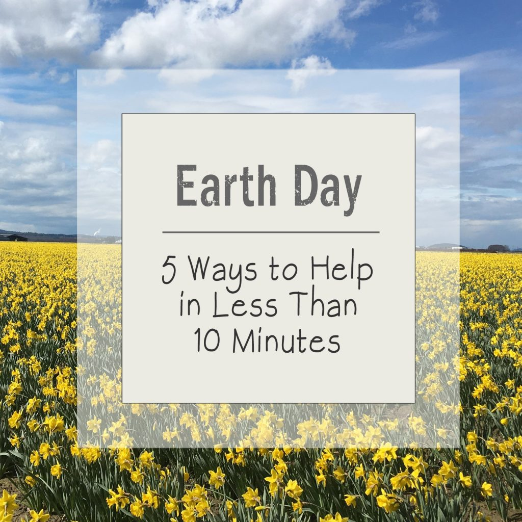 Super simple ideas for helping on Earth Day. All can be planned, and all but one can be done, in less than 10 minutes. | For Animals For Earth