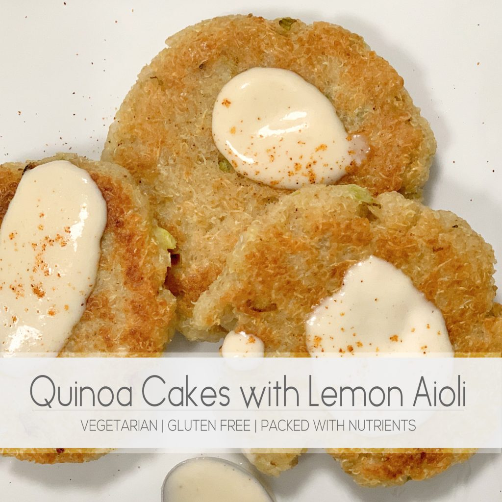 These gluten free vegetarian quinoa cakes are crunchy on the outside but soft on the inside. The lemon aioli adds the perfect flavor.   For Animals For Earth
