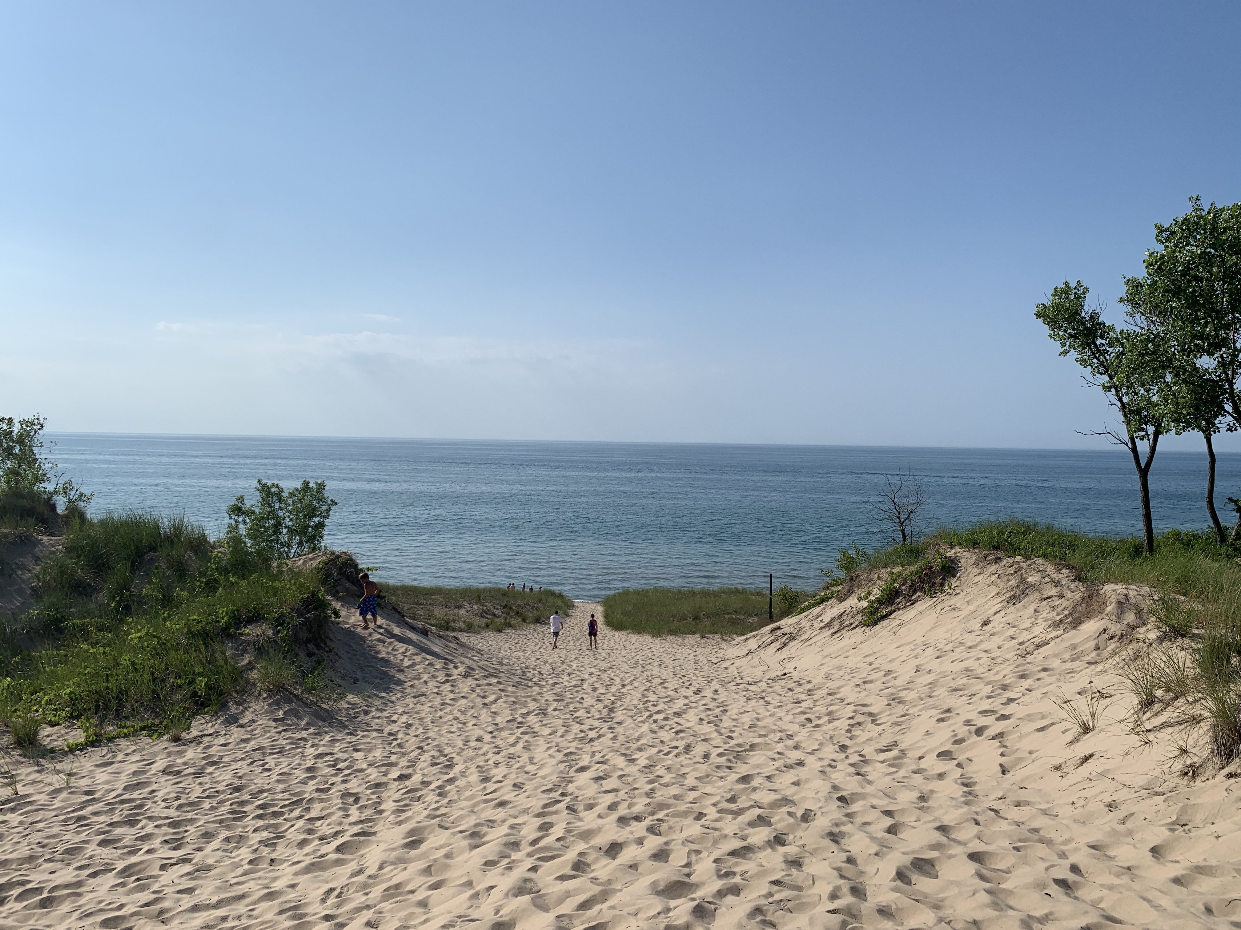 View from the top of a sand dune at Indiana Dunes National Park