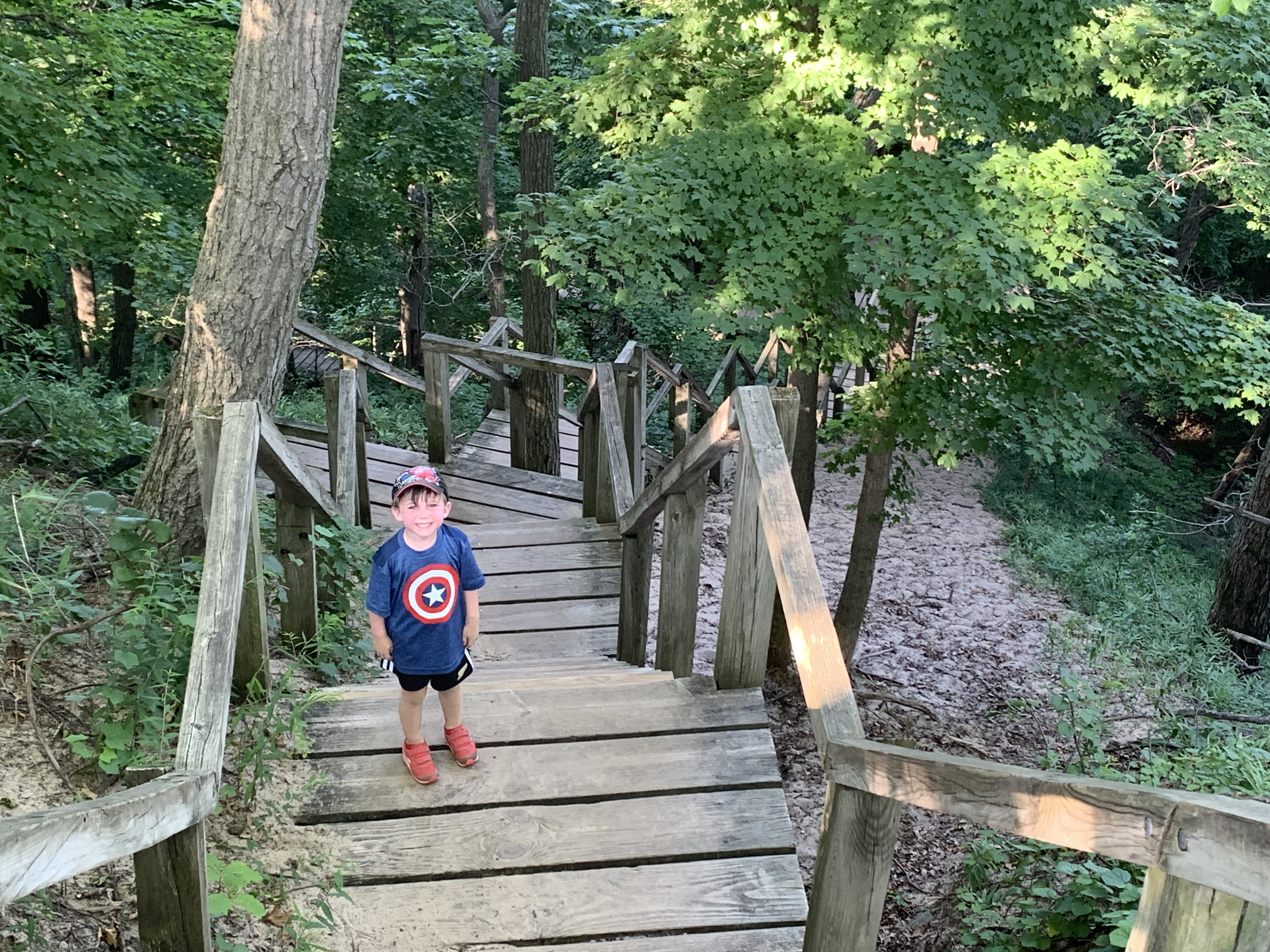 Stairs on hiking trail at Indiana Dunes State Park