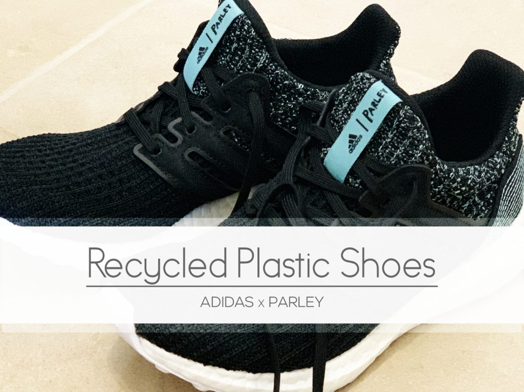 I found a pair of shoes made from recycled plastic. The Adidas Parley Ultra Boost.   For Animals For Earth