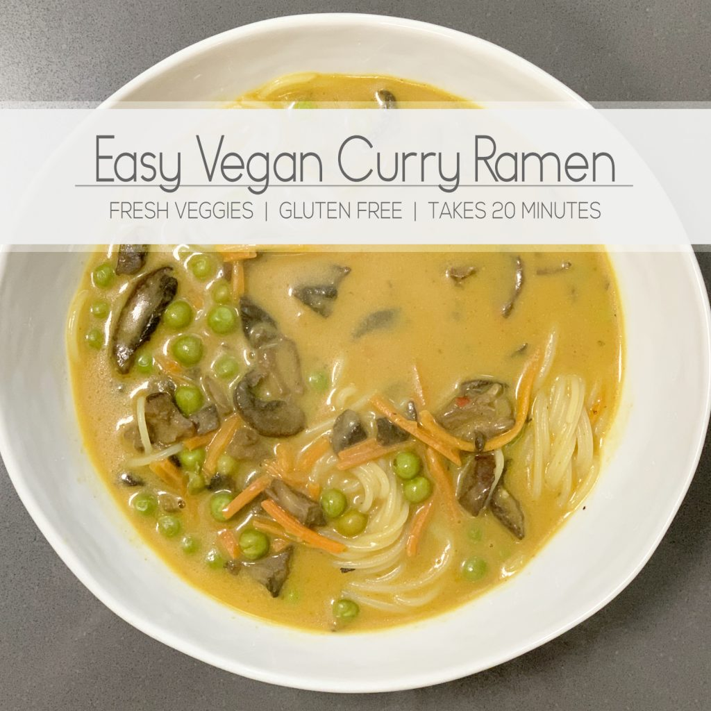 A super easy and quick recipe to make vegan curry with ramen noodles at home. Fresh, gluten free, full of flavor. | For Animals For Earth