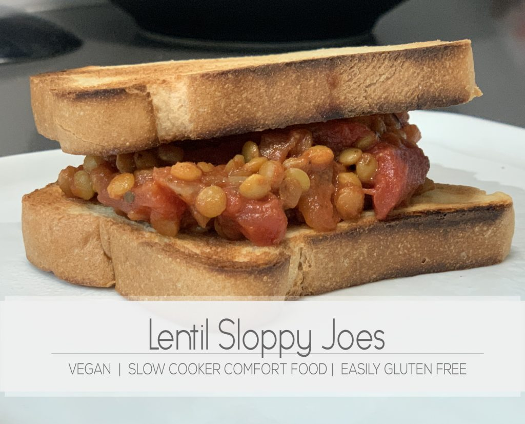 Easy crockpot recipe for vegan sloppy joes made with lentils | For Animals For Earth