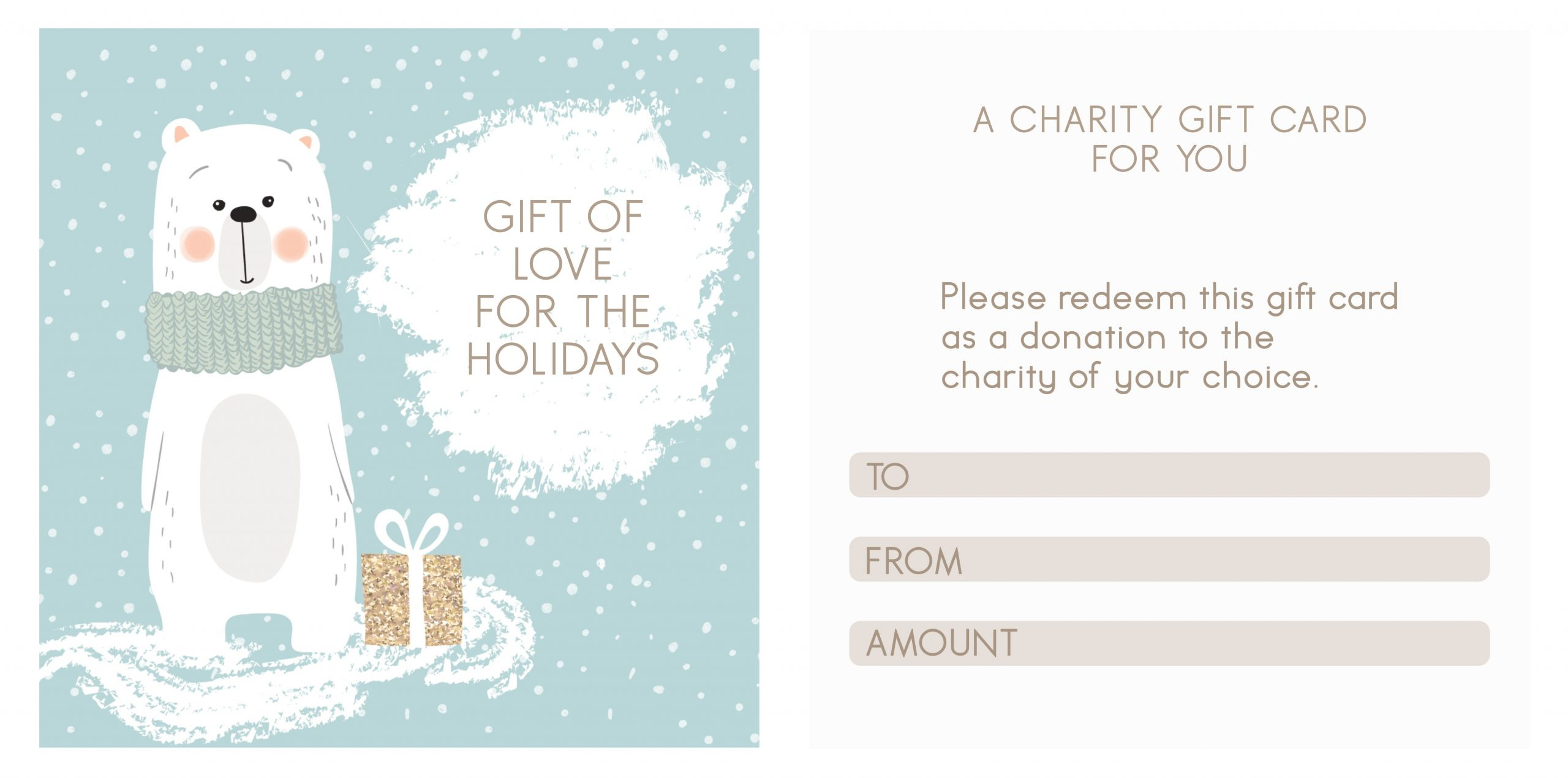 Print this template for your own DIY Charity Choice Gift Card for the holidays. I use these for stocking stuffers and allow the kids to choose their favorite charity to donate to after the holidays.