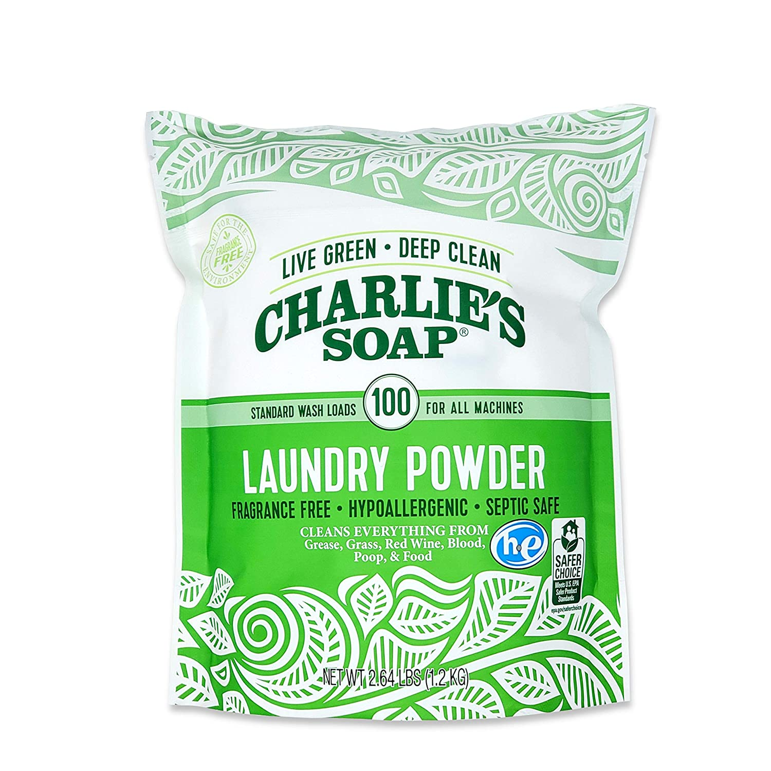Did you know that laundry packs have animal fat in them? I couldn't believe it! When I began using powder detergent, I no longer had problems with a smelly washer. This Charlie's Soap option is also fragrance free and biodegradable. | For Animals For Earth