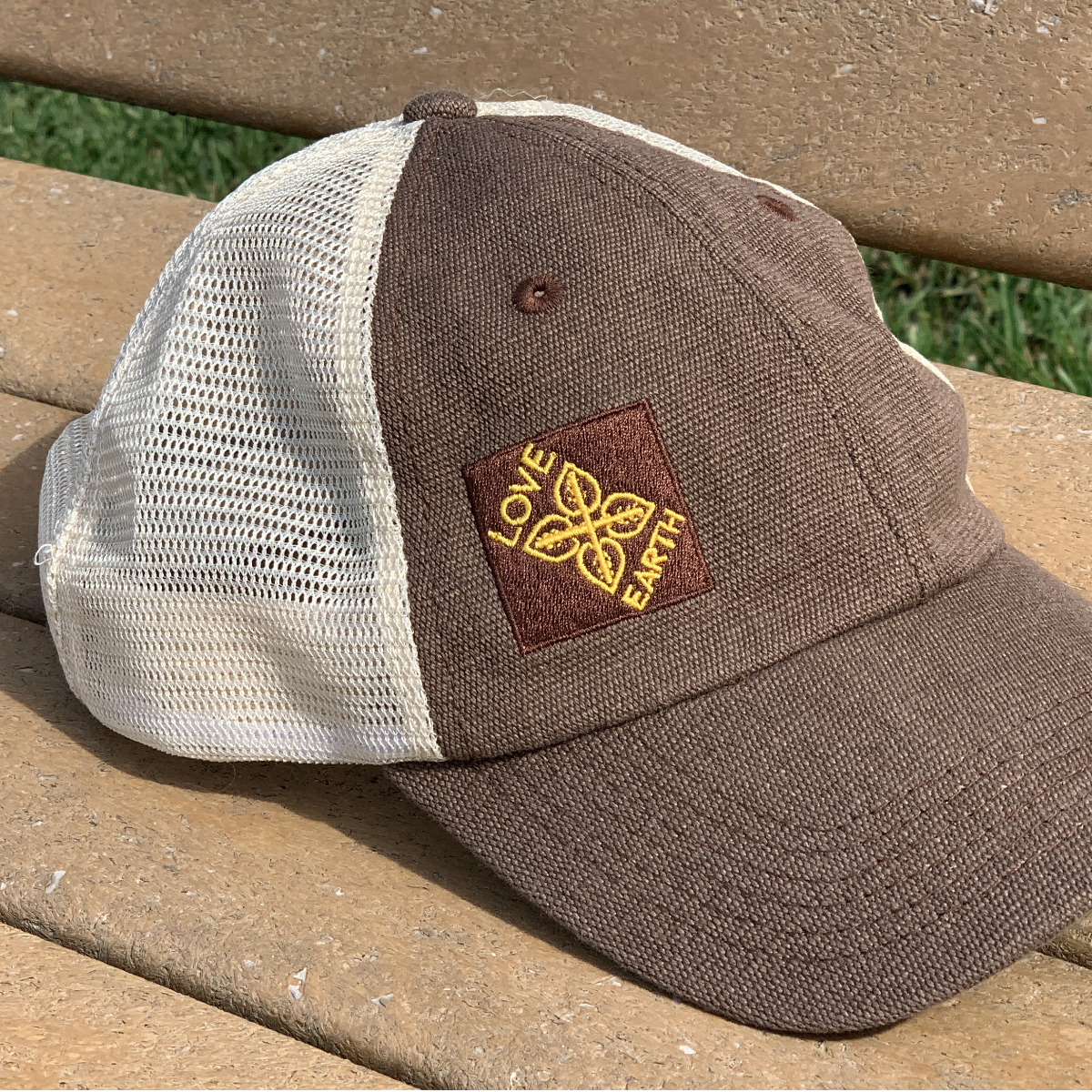 Cute trucker hat. Econscious with hemp and recycled plastic. Love + Earth | For Animals For Earth