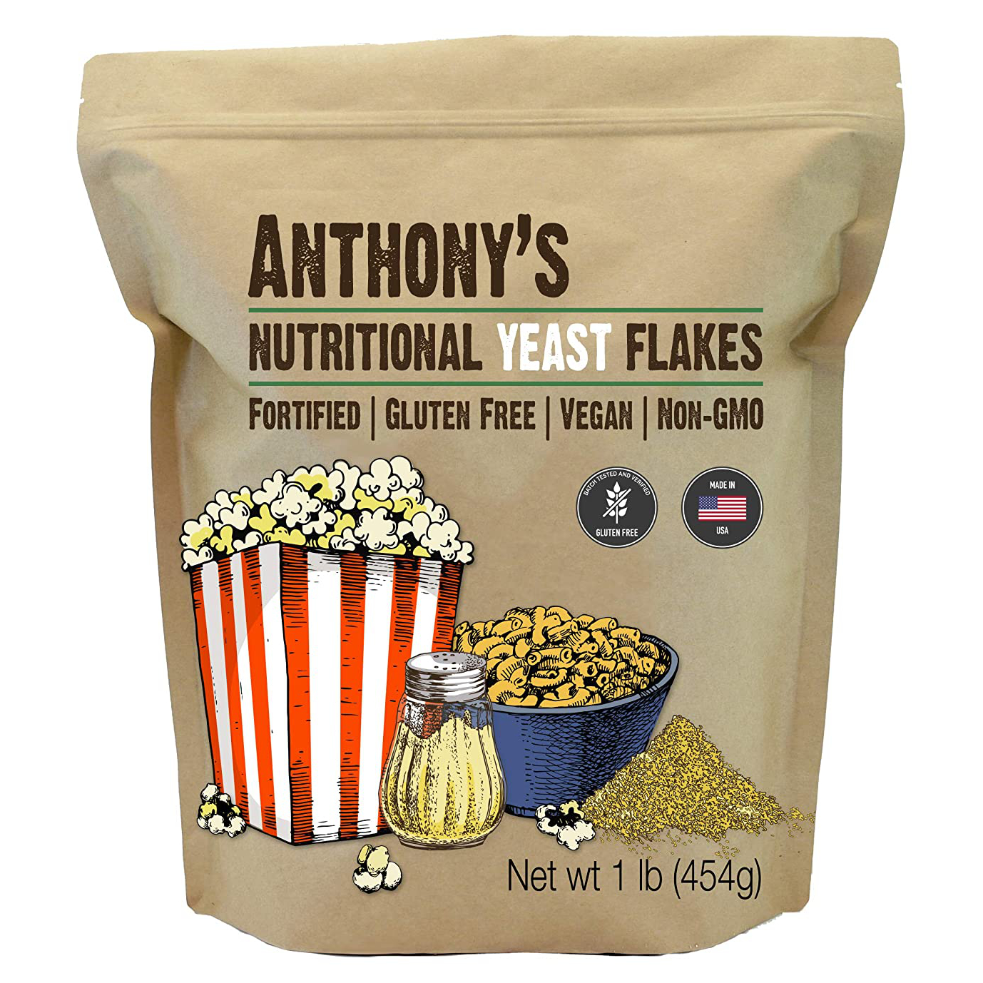 Anthony's Nutritional Yeast Flakes make a great vegan substitute for cheese.