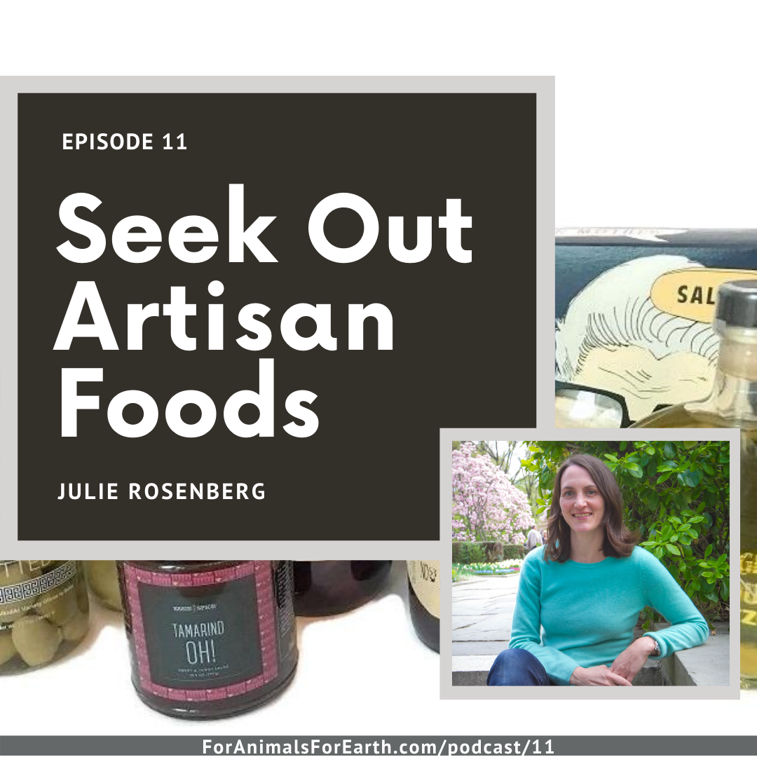 Purchasing artisan foods helps us to eat consciously, connecting our minds and bodies to our food, to the earth, and to each other. Julie from Julie's Beet joins us in episode 11 of the For Animals For Earth Podcast