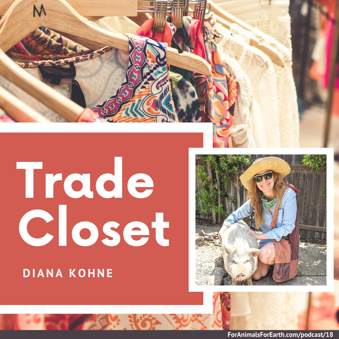 Second hand stores for free with Trade Closet from Diana Kohne. Women can trade clothing, handbags, and shoes, rather than purchasing something new. Diana tells us about this on the For Animals For Earth Podcast in episode 18.