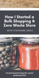 Stephanie Lentz, CEO of Scoop Marketplace, joins me to talk about how she started a bulk shopping and zero waste store in episode 44 of the For Animals For Earth podcast.